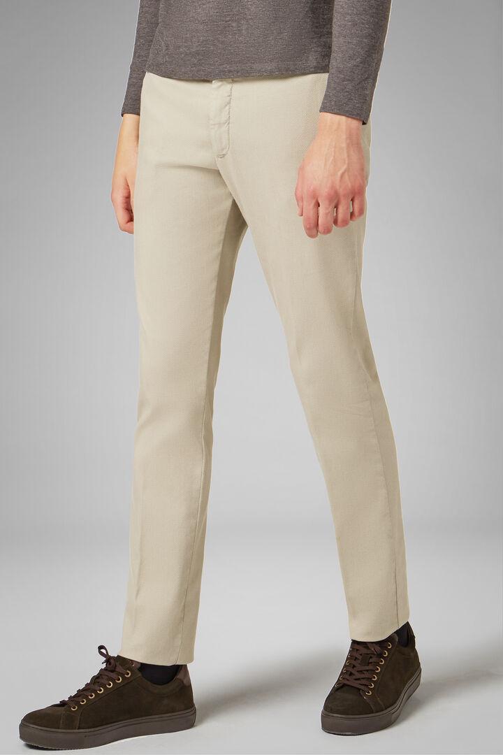 Slim Fit Cotton/Tencel Structured Trousers, Sand, hi-res