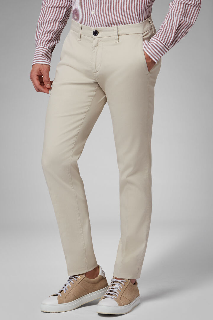 Washed-Out Effect Stretch Cotton/Tencel Trousers, Beige, hi-res