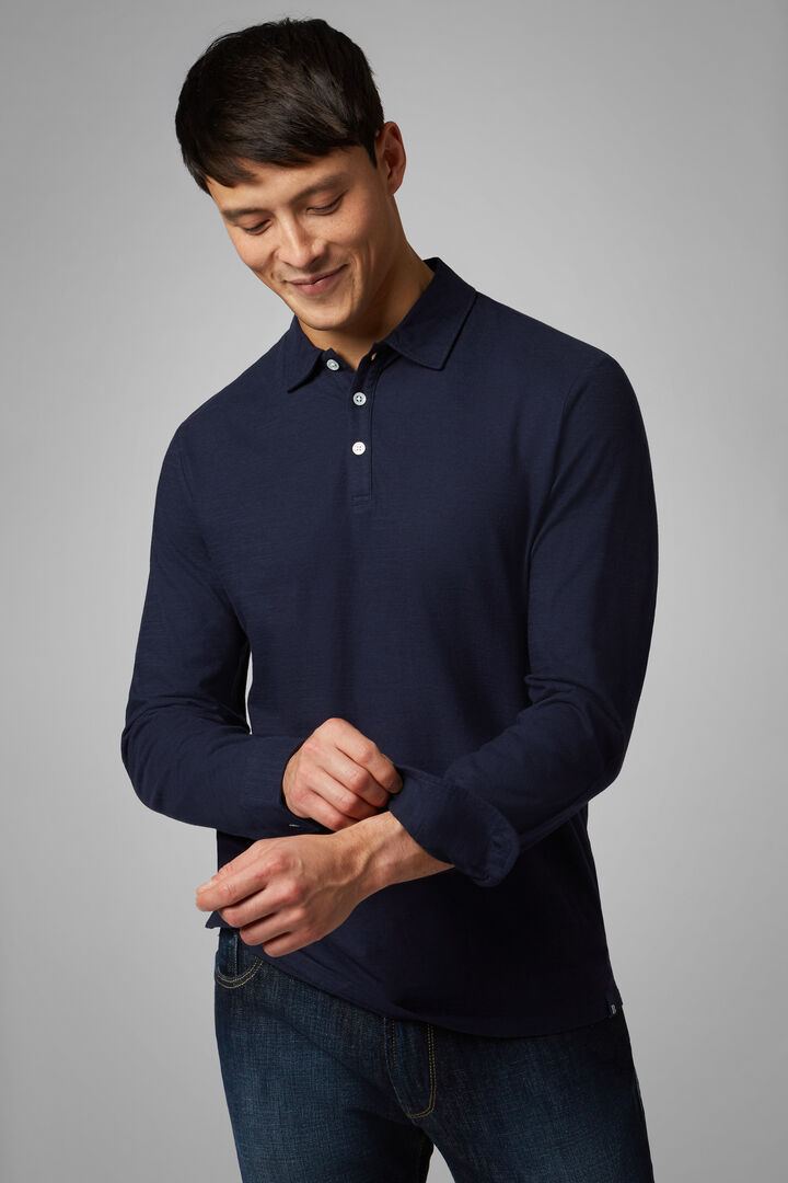 Polo Blu In Jersey Di Cotone, Navy, hi-res