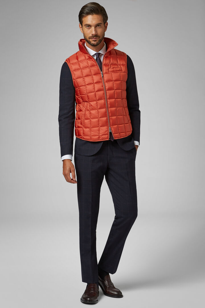 Square Quilted Nylon Gilet, Orange, hi-res