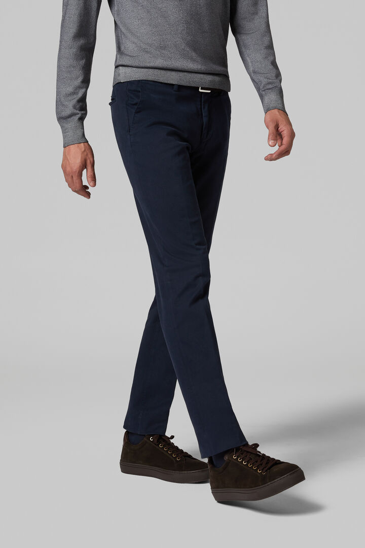 Slim Fit Stretch Cotton Tricotine Trousers, Navy blue, hi-res