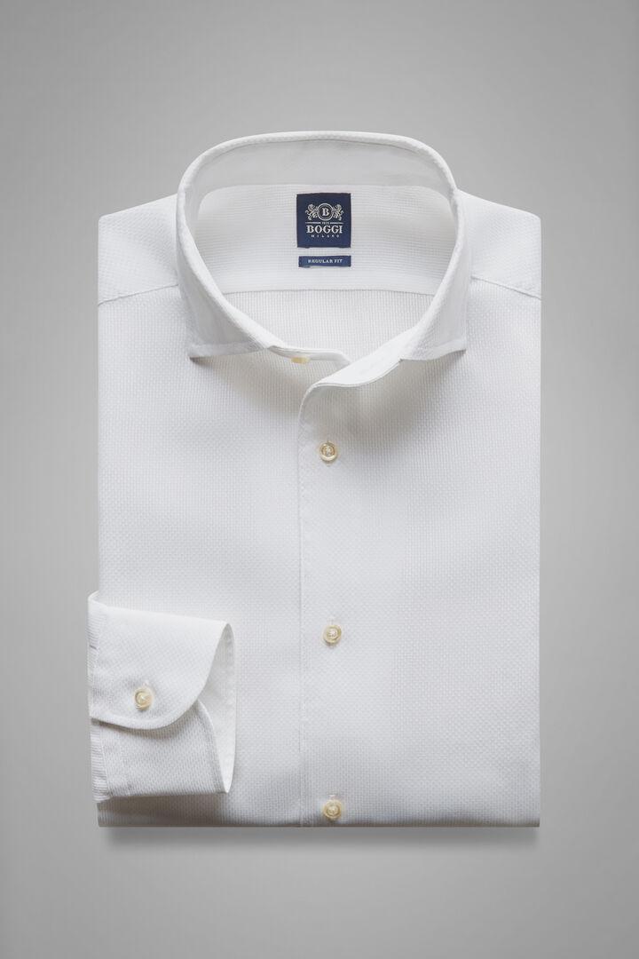 Regular Fit White Shirt With Capri Collar, White, hi-res