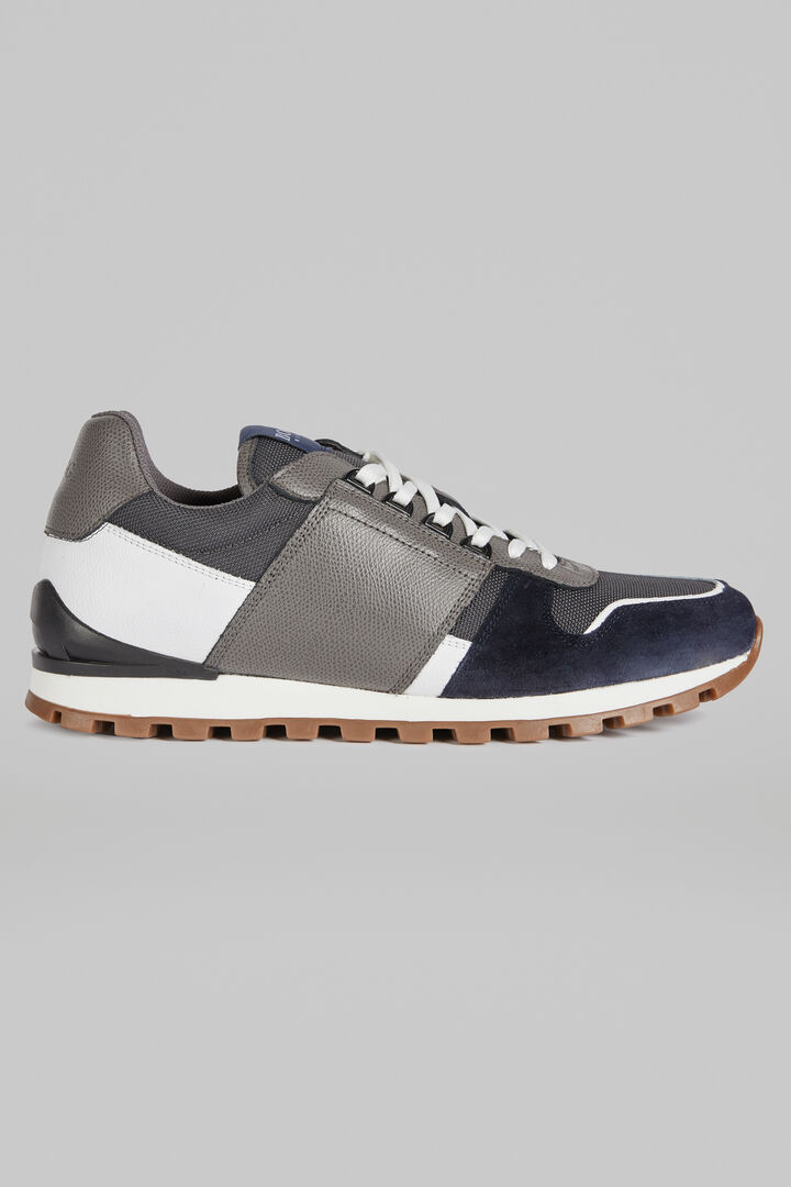Leather And Suede Running Trainers, Grey - White, hi-res