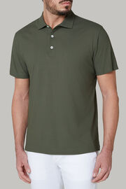 Polo aus baumwolljersey und krepp regular fit, Militärgrün, hi-res