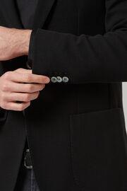Schwarzes sakko aus baumwolljersey und krepp, Schwarz, hi-res