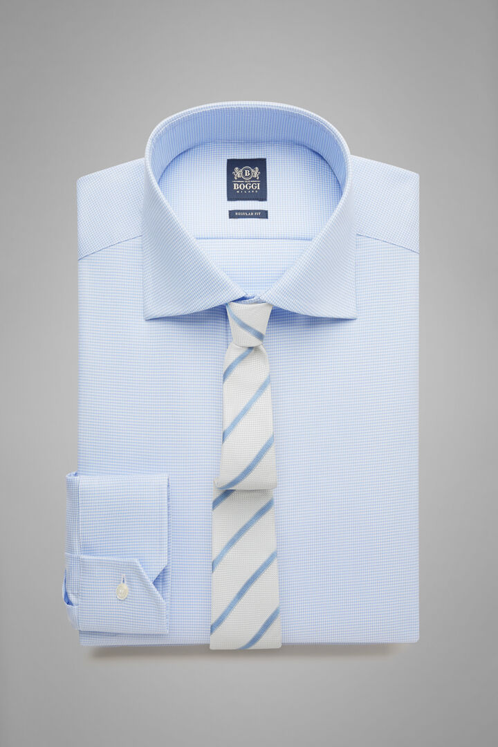 Regular Fit Sky Blue Shirt With Windsor Collar, Light blue, hi-res