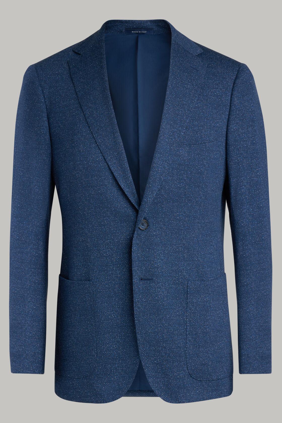 Blazer Blu Como In Jersey Di Lana Stampato, Blu, hi-res