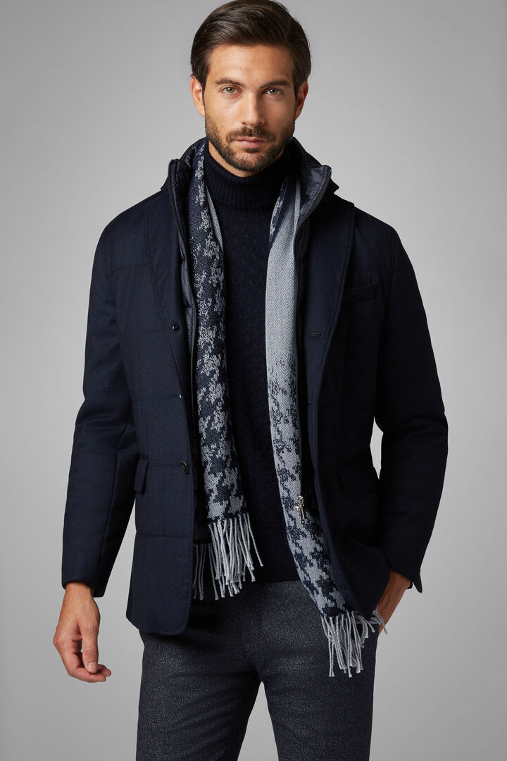 Flannel Quilted Jacket With Bib, Navy blue, hi-res