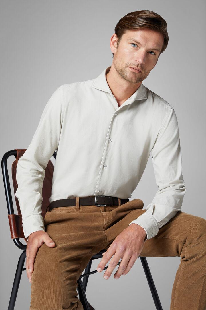 Regular Fit Beige Velvet Shirt With Bowling Collar, Beige, hi-res
