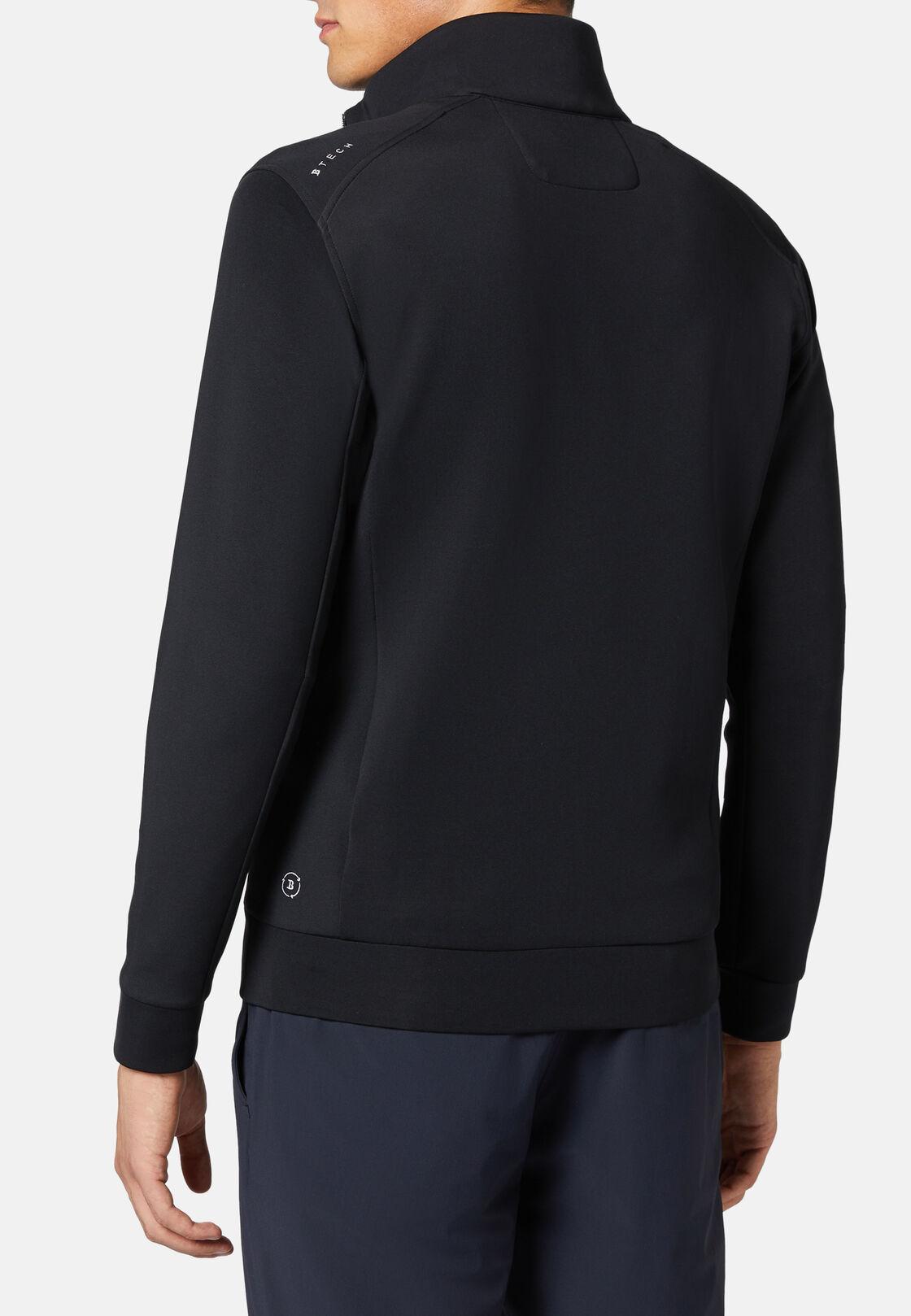 Sweatshirt mit durchgehendem reißverschluss aus leistungsstarkem recyceltem scuba, Schwarz, hi-res