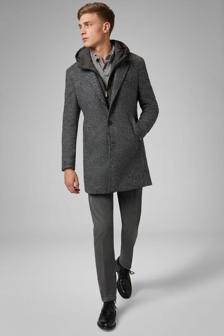 Jersey Coat With Bib And Hood, Grey, hi-res