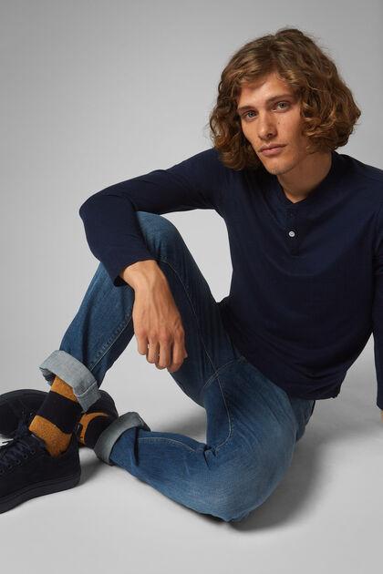 Serafino Bleu En Jersey De Coton Tencel, bleu marin, hi-res