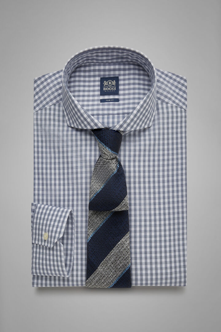 Slim Fit Blue Gingham Shirt With Naples Collar, Blue, hi-res