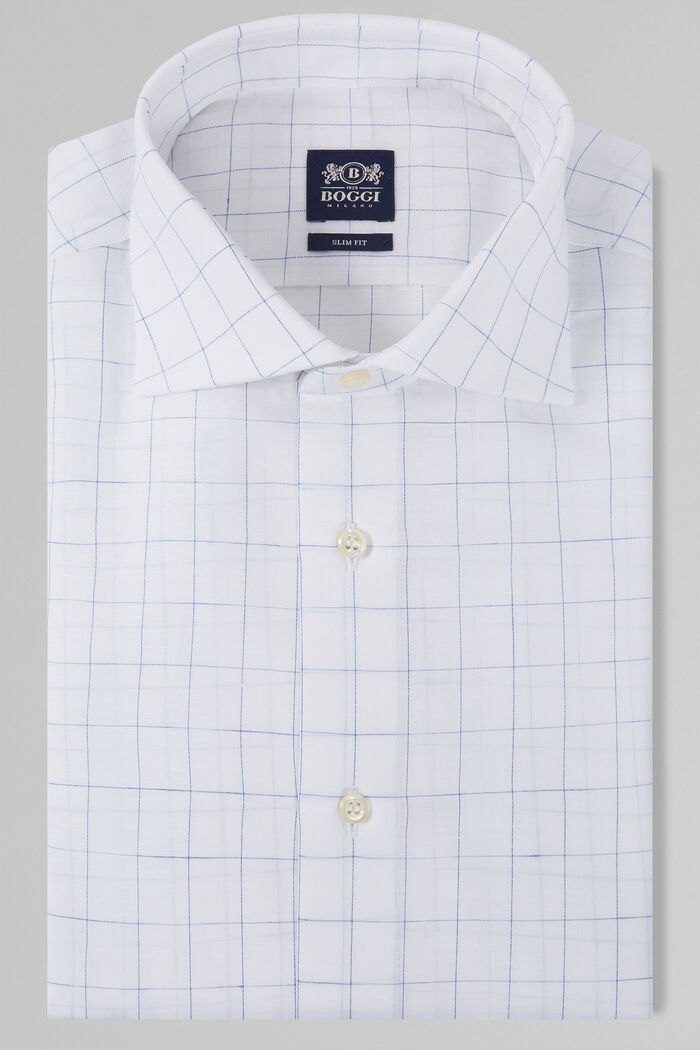 CAMICIA A QUADRI BLU COLLO WINDSOR SLIM FIT, , hi-res