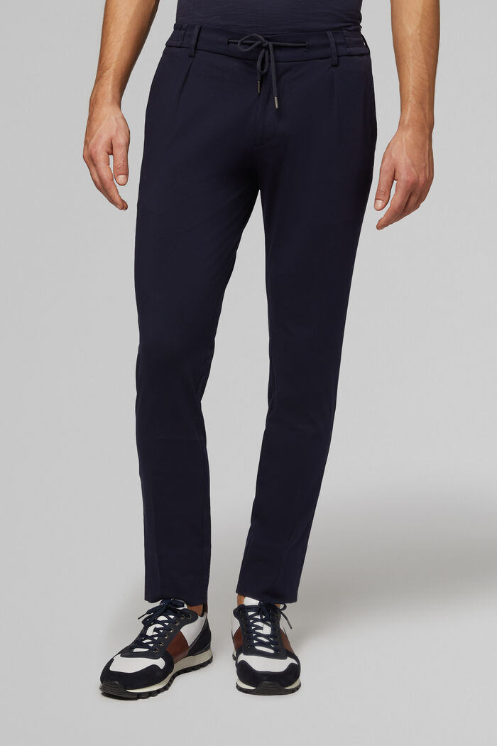 SLIM FIT JERSEY SUIT TROUSERS WITH DRAWSTRING , , hi-res