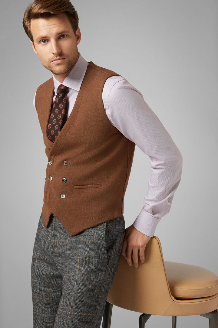 Double-Breasted Knitted Merino Wool Waistcoat, Camel, hi-res