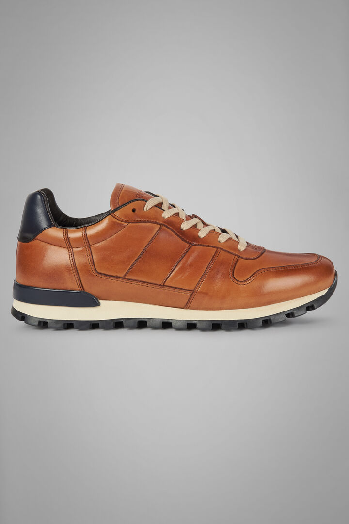 Smooth Leather Running Trainers, Leather brown - Navy, hi-res