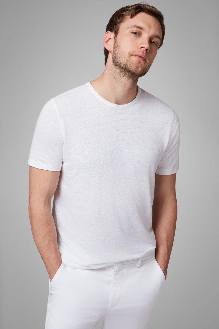 T-Shirt Navy In Jersey Di Lino Stretch, Bianco, hi-res