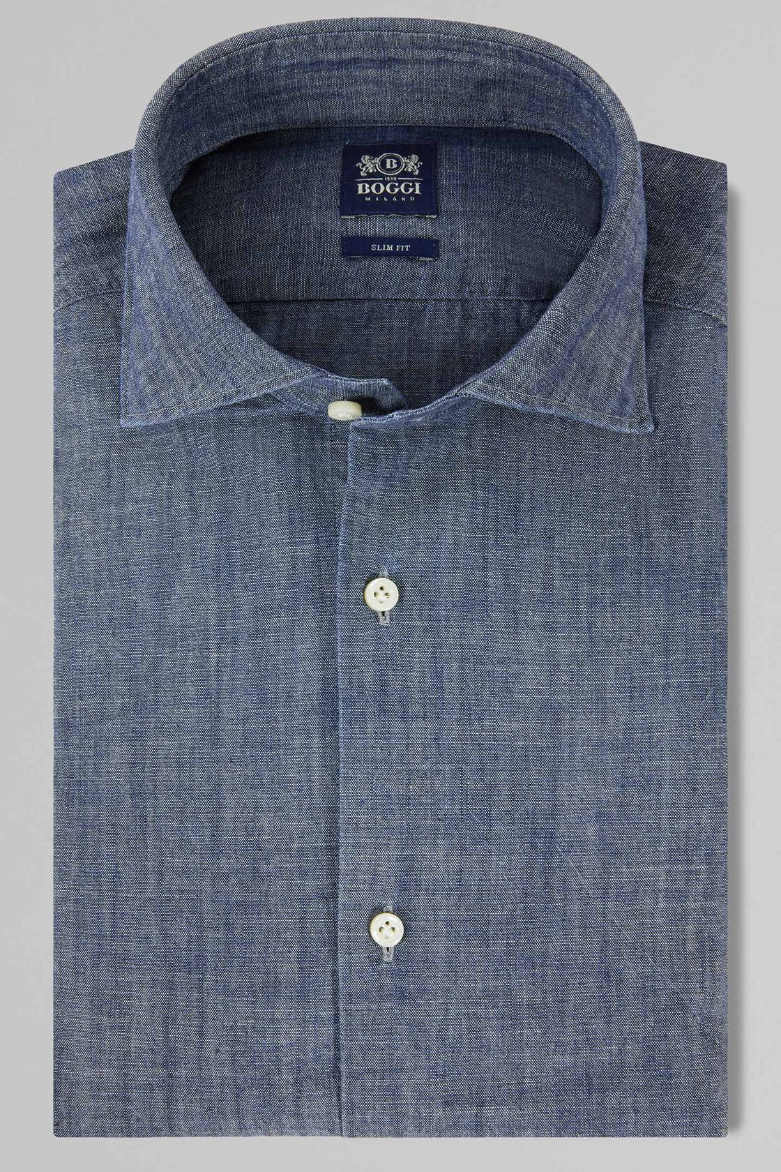 new concept a38f9 55ff8 CAMICIA COLLO CHIUSO DENIM SLIM FIT