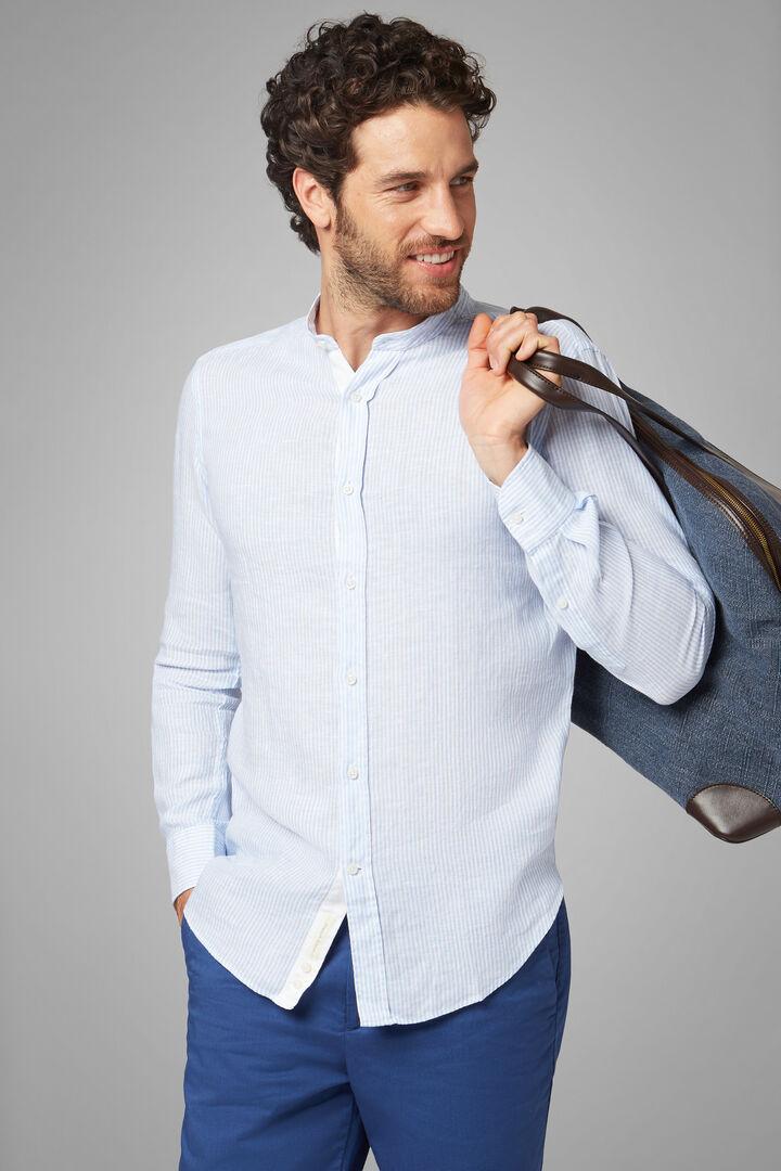 Camicia A Righe Azzurre Collo Koreano Regular Fit, Azzurro, hi-res