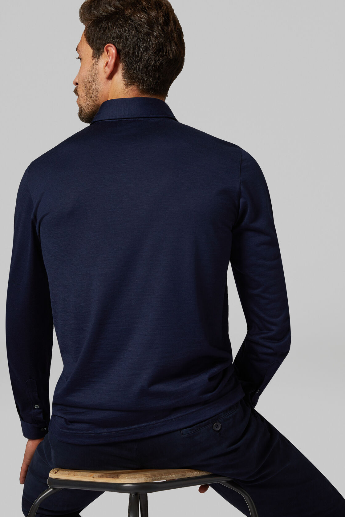 Slim Fit Merino Jersey Polo Shirt, Blue, hi-res
