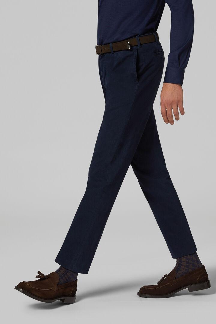 Pantalon En Coton Sergé Stretch Coupe Droite, bleu marin, hi-res