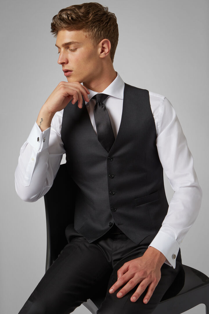 Regular Fit Charcoal Grey Wool Suit Waistcoat, Charcoal, hi-res