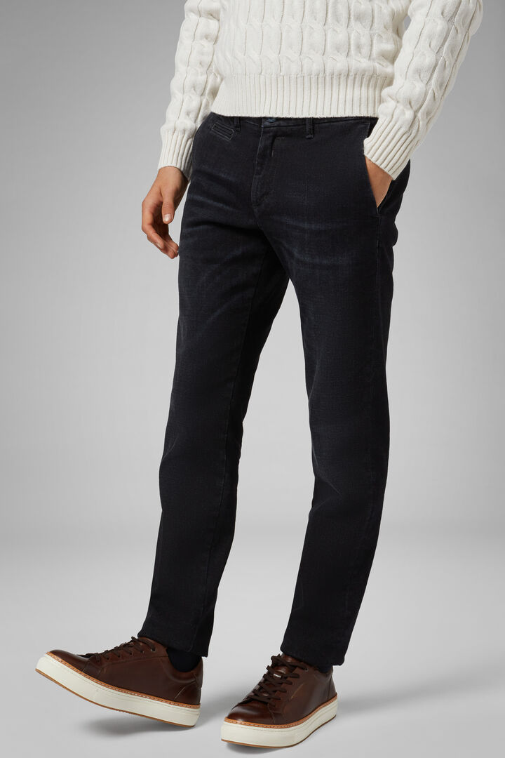 Pantalone In Denim Lavaggio Scuro Slim, Blu - Nero, hi-res