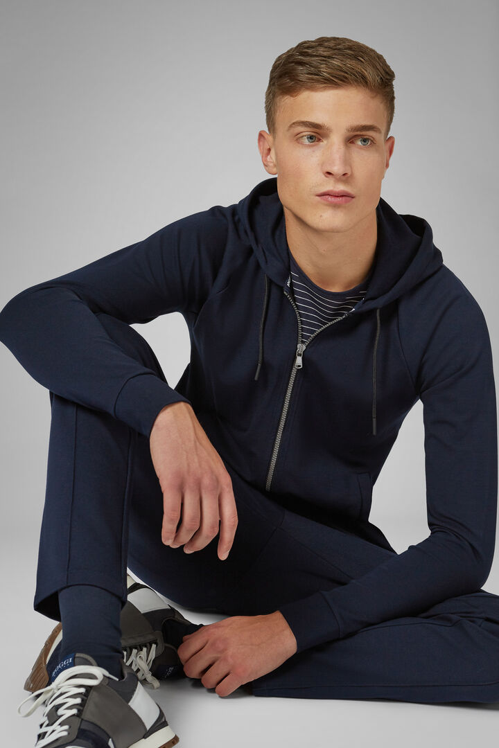 Cotton Blend Full Zip Sweatshirt, Navy blue, hi-res