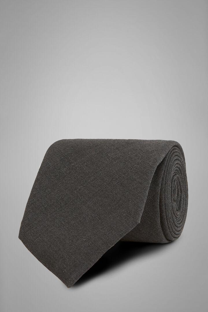 Einfarbige Krawatte Aus Technischer Wolle, Grau, hi-res