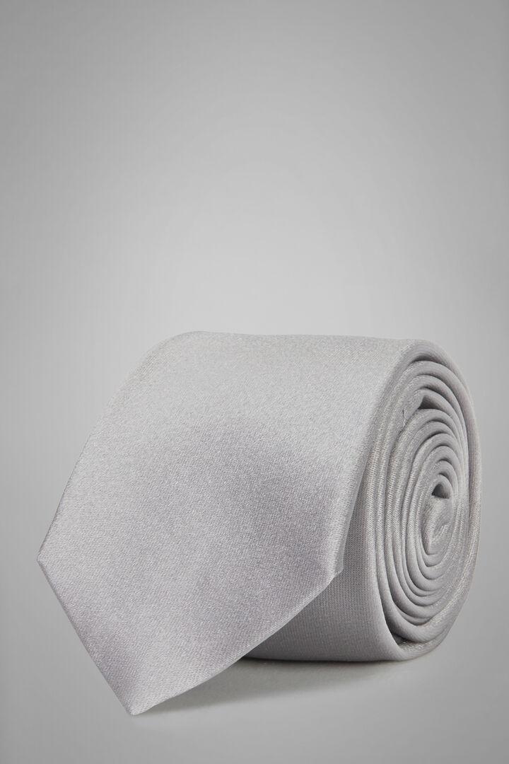 7 Cm Silk Satin Tie, Silver, hi-res