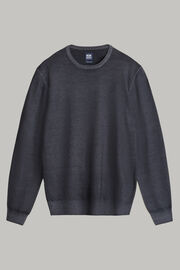 Charcoal merino wool round-neck pullover, Antracite, hi-res