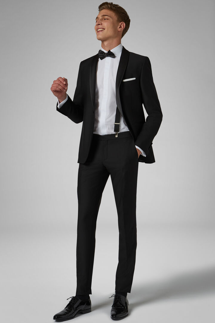 Black Hollywood Dinner Suit With Shawl Lapels, Black, hi-res