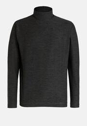 T-shirt collo alto in tessuto tecnico manica lunga, Carbone, hi-res