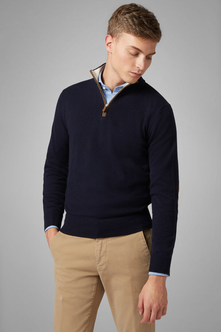 Maglia Lupo Zip In Lana Cashmere, Navy, hi-res