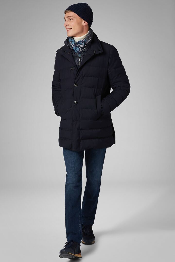 Quilted Technical Down Coat With Bib, Navy blue, hi-res