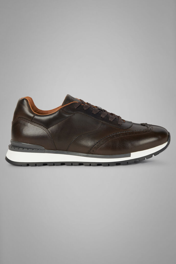 Textured Leather Running Trainers, Dark brown, hi-res