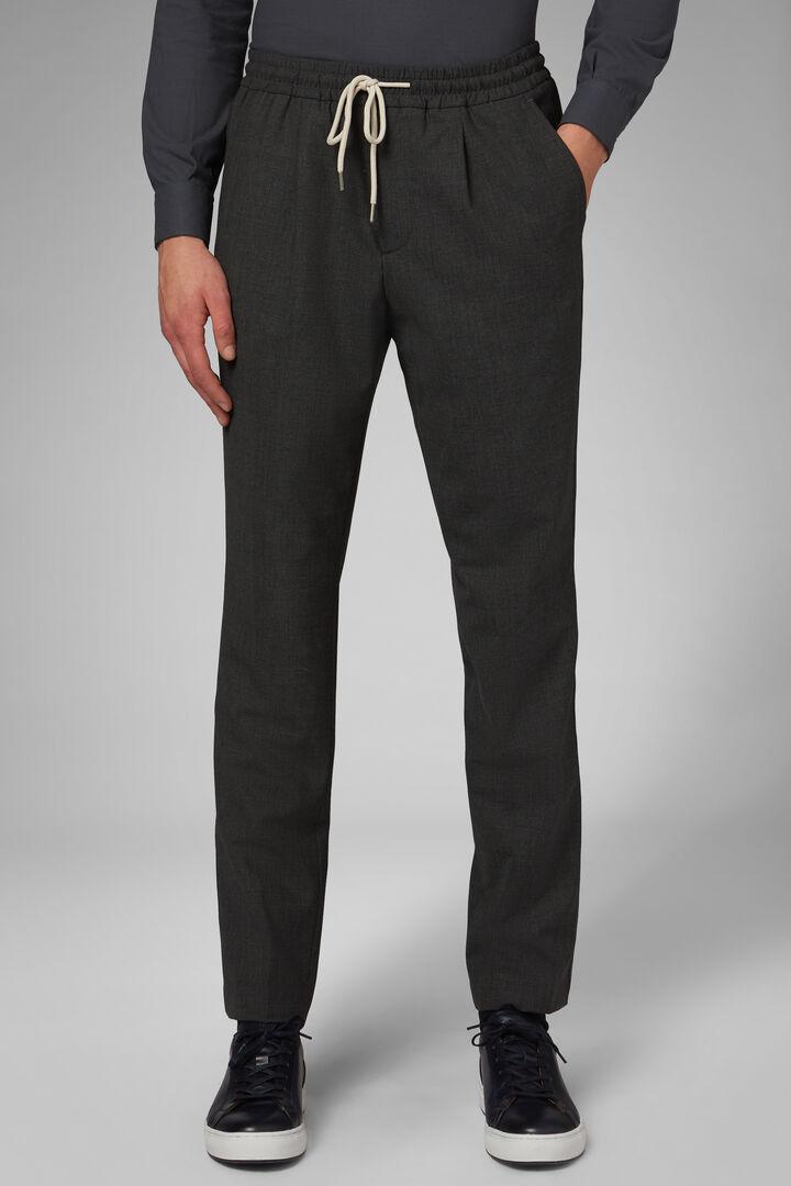Pantalone In Lana Lavabile Con Coulisse Regular, Grigio - Antracite, hi-res