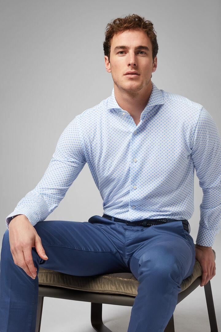 Regular Fit Sky Blue Casual Shirt With Open Collar, Light blue, hi-res
