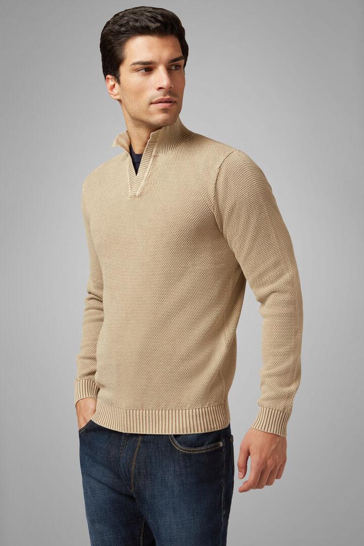 Pullover Mit Offenem Stehkragen Aus Baumwolle, Sand, hi-res