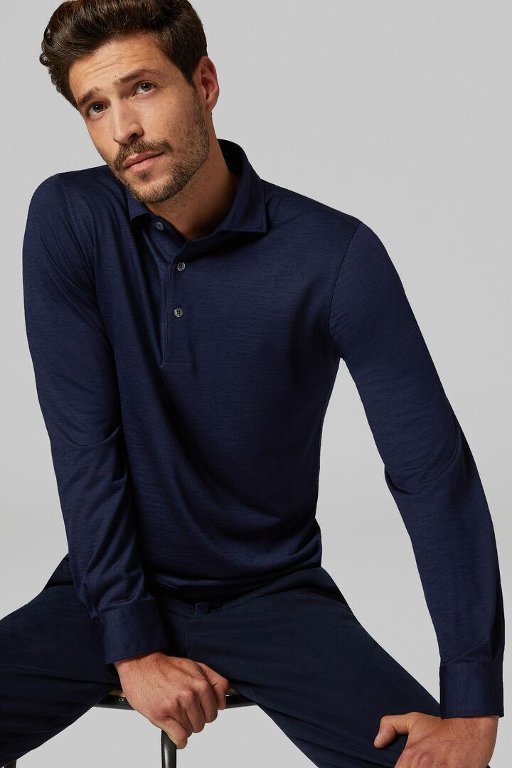 Polo In Jersey Di Merino Slim Fit, Blu, hi-res