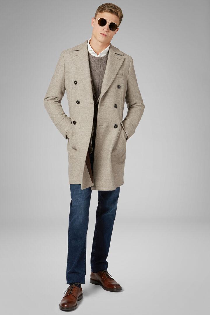 Black Double-Breasted Sheep Wool Coat, Natural, hi-res