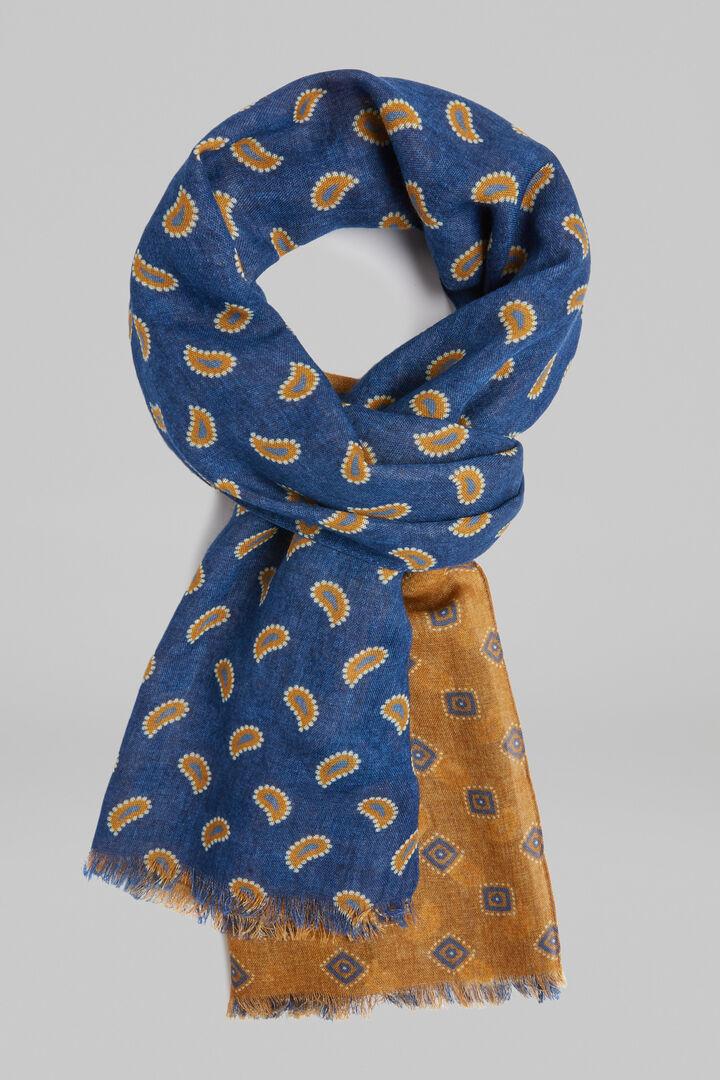 Bedruckter Schal Mit Zweifarbigem Muster Aus Wolle, Blau - Senf, hi-res
