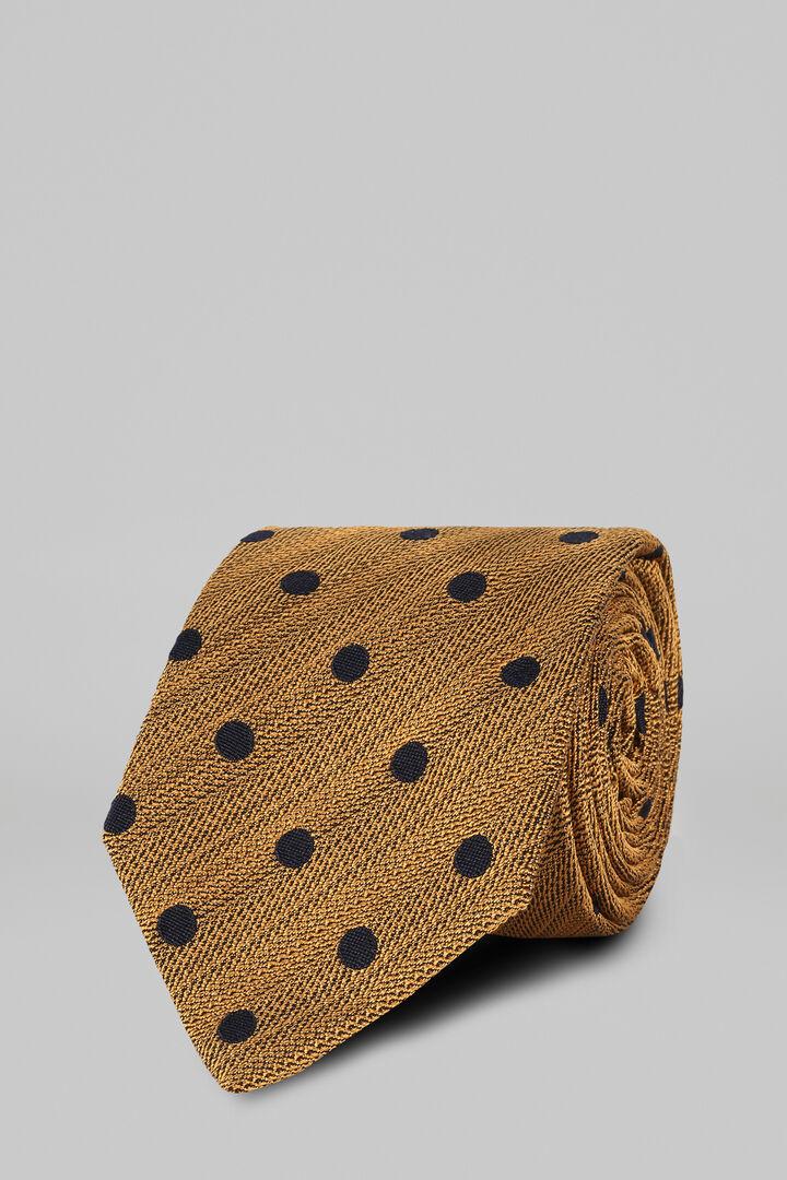 Cravatta Pois In Seta Cotone Jacquard, Ocra, hi-res
