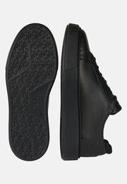 Sneakers leggere nere in pelle, Nero, hi-res