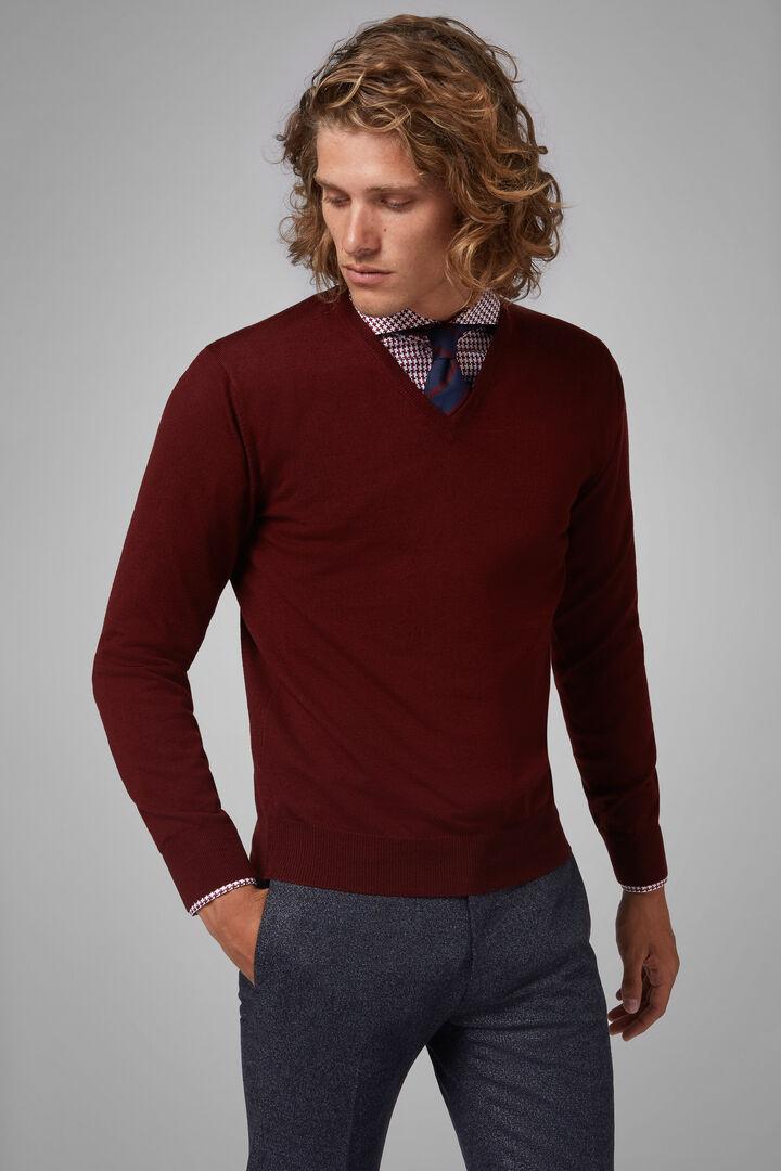 Pullover Mit V-Ausschnitt Aus Merinowolle Extrafein, Burgund, hi-res