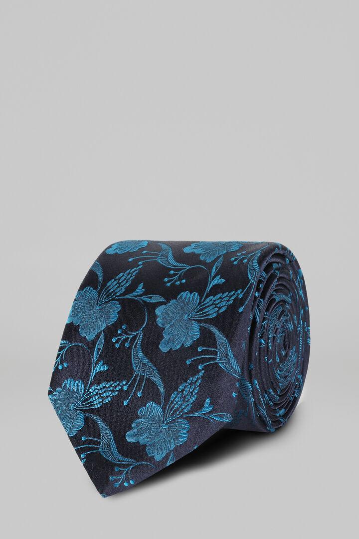 Cravate Motifs À Fleurs En Satin De Soie Jacquard, Sarcelle, hi-res