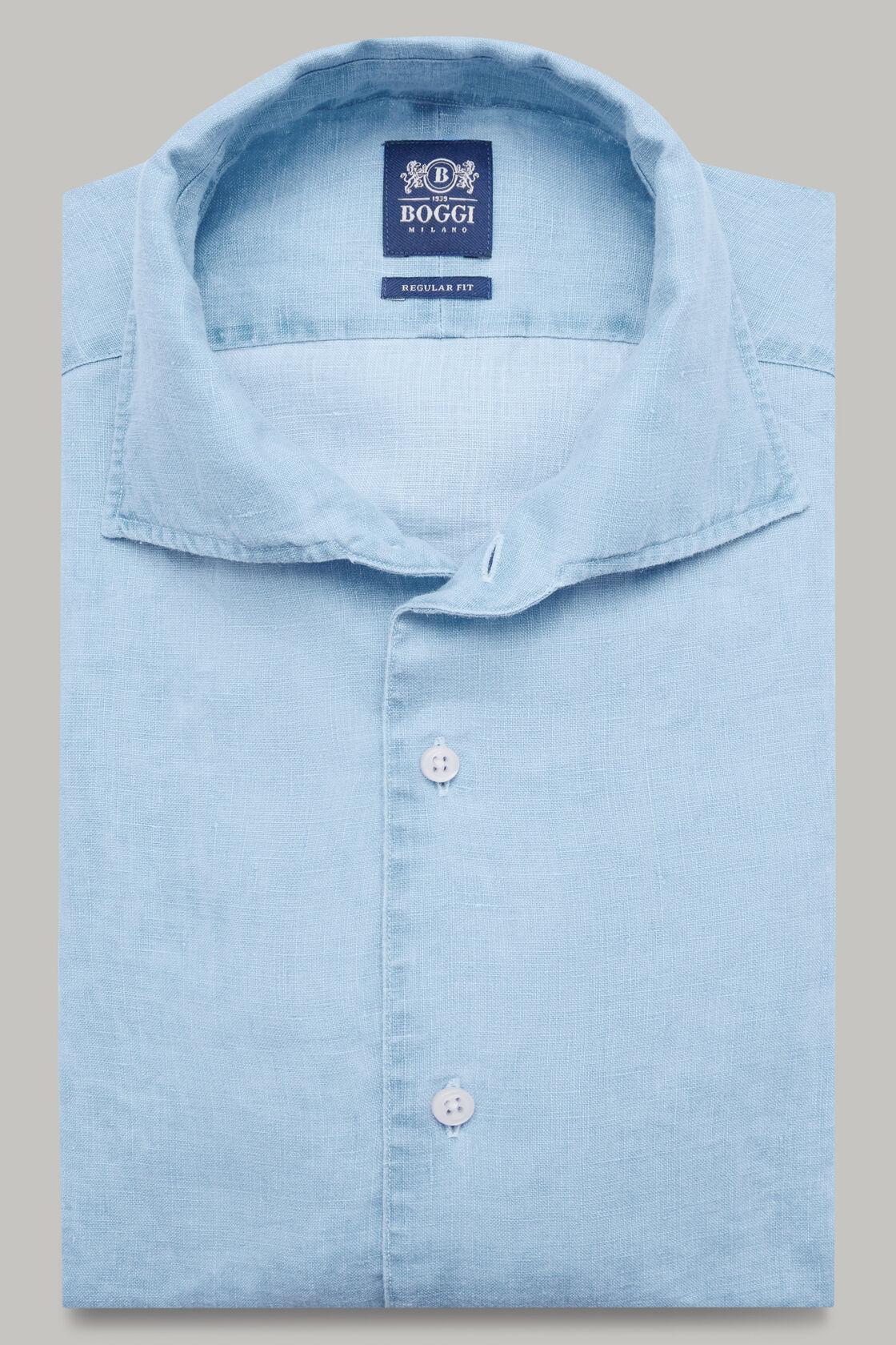 Azurblaues hemd mit bowling-kragen aus leinen regular fit, Hellblau, hi-res