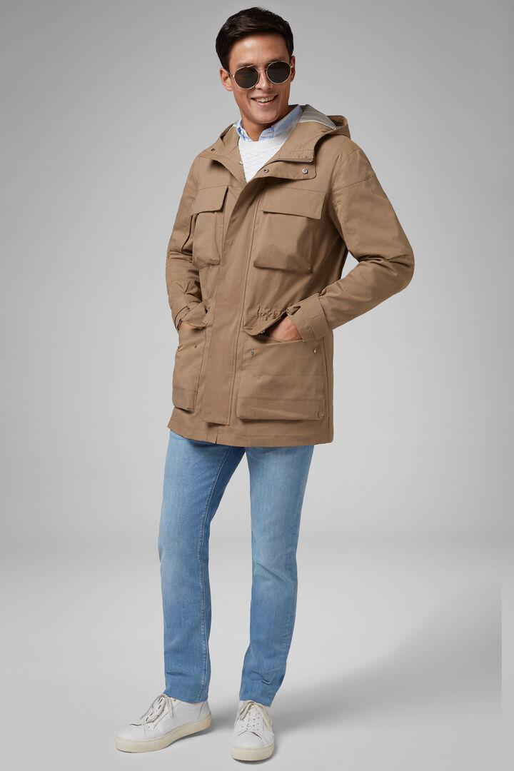 Field Jacket In Cotone E Nylon, Beige, hi-res