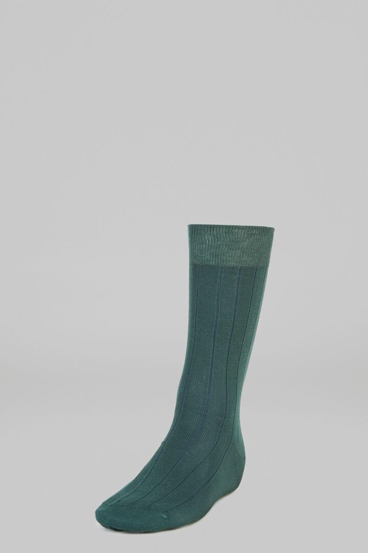 Ribbed Marl Short Socks, Military Green - Blue, hi-res